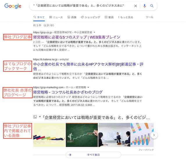 コピーコンテンツを確認するためのGoogle完全一致検索